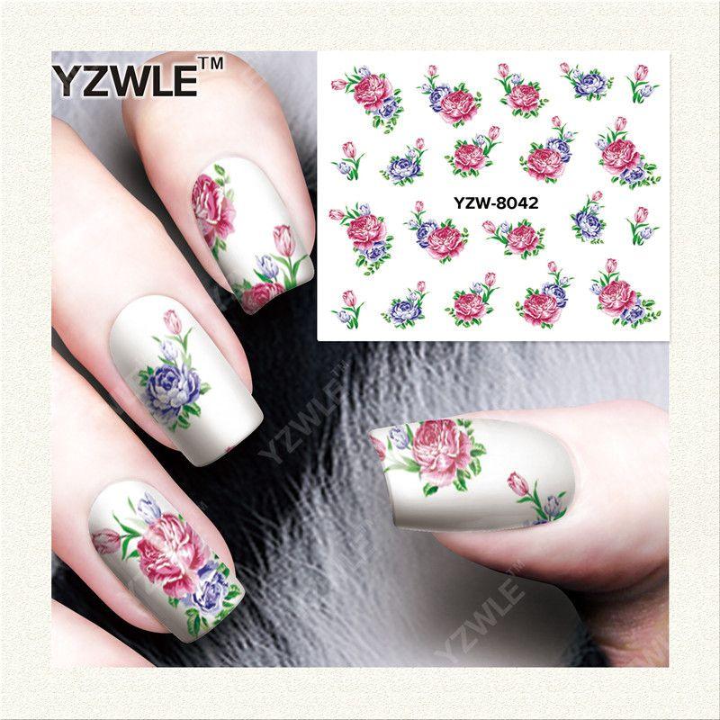 YZWLE 1 Sheet Decalcomanie FAI DA TE Nails Art Stampa di Trasferimento Dell'acqua Adesivi Accessori Per Manicure Salon YZW-8042