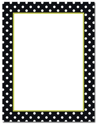 photograph relating to Free Printable Stationery Black and White titled Absolutely free Black and White Polka Dot Border 1st Quality No cost