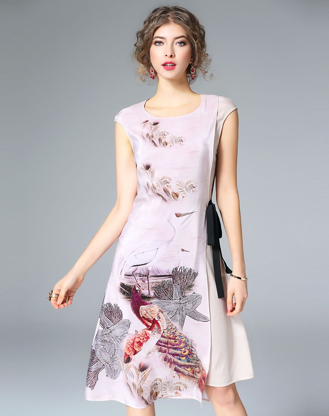 Vipme silk cap sleeve bird printed elegant midi dress get more