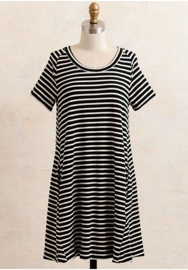 This white and black striped dress is a wardrobe essential,