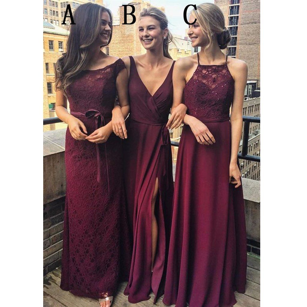 Burgundy mismatched charming affordable lace long bridesmaid burgundy mismatched charming affordable lace long bridesmaid dresses wg431 ombrellifo Image collections
