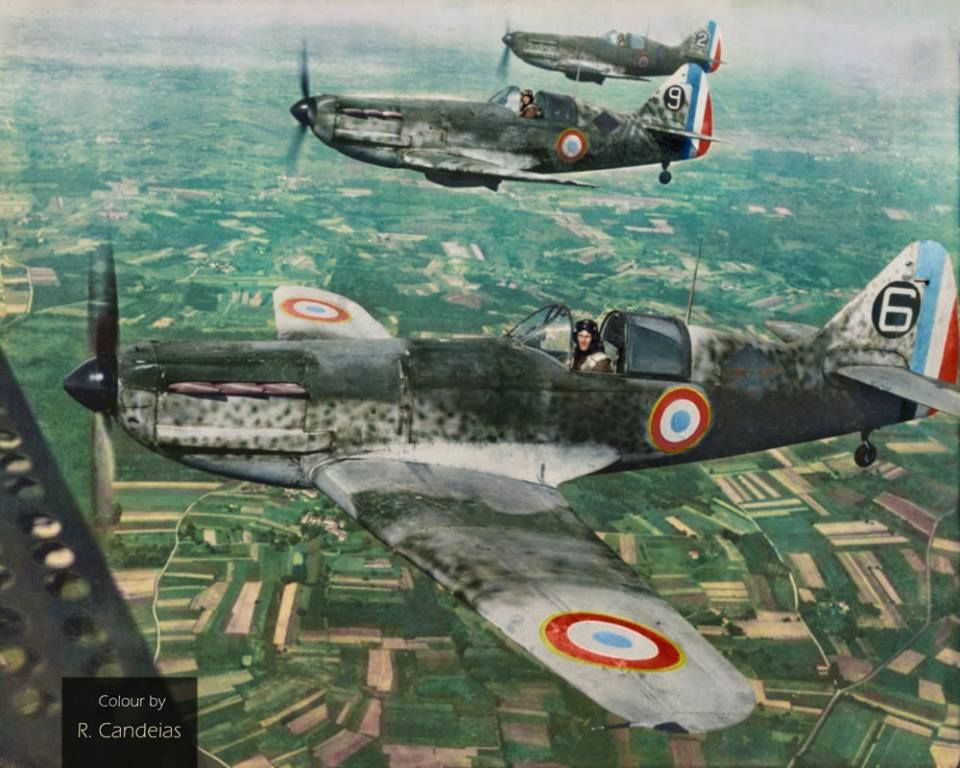 Free French Air Force's Dewoitine D.520s over southern France, (probably) late summer of 1944.