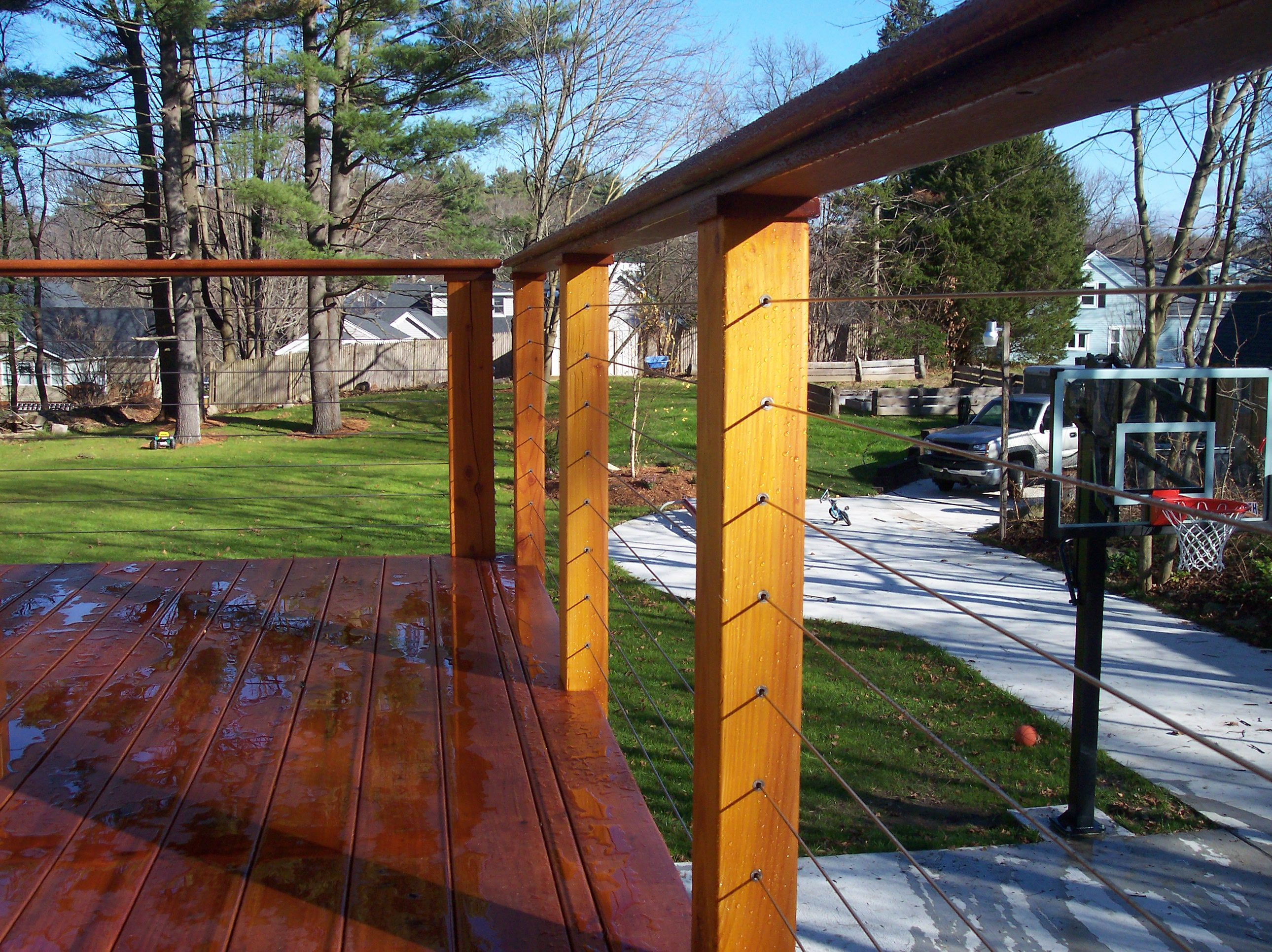 Best Cable Rail With 4X6 Fir Posts And Mahogany Cap Outdoor 400 x 300