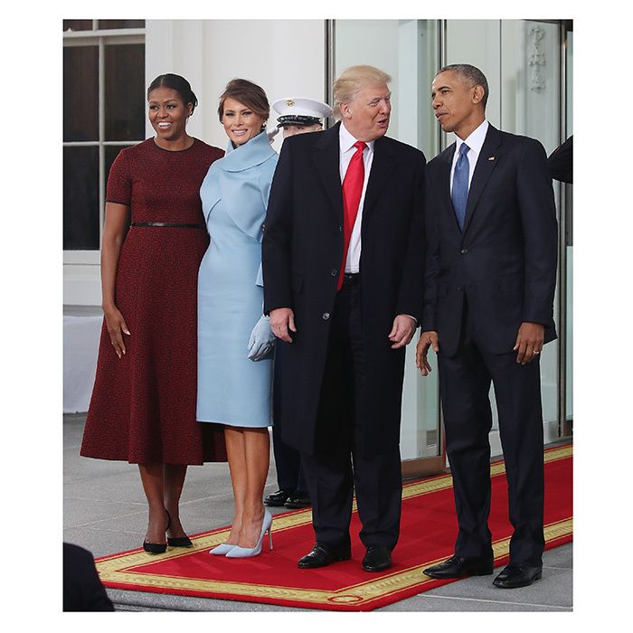 Barack and michelle obama greet donald and melania trump for white barack and michelle obama greet donald and melania trump for white house handover m4hsunfo