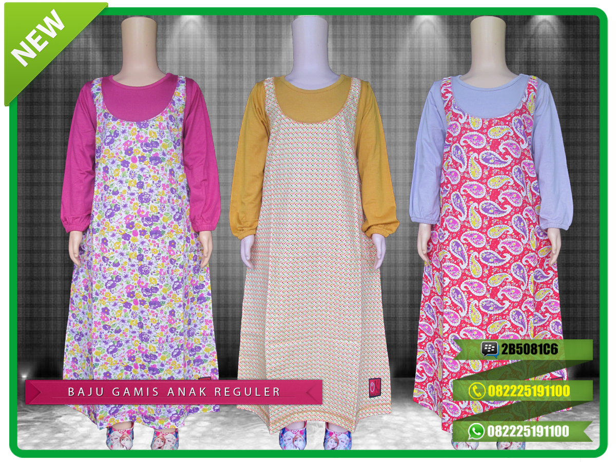 Grosir baju gamis anak bahan kaos berkualitas model reguler dengan