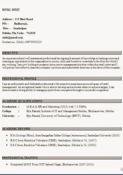 download format for resume Sample Template Example ofExcellent - mba fresher resume sample