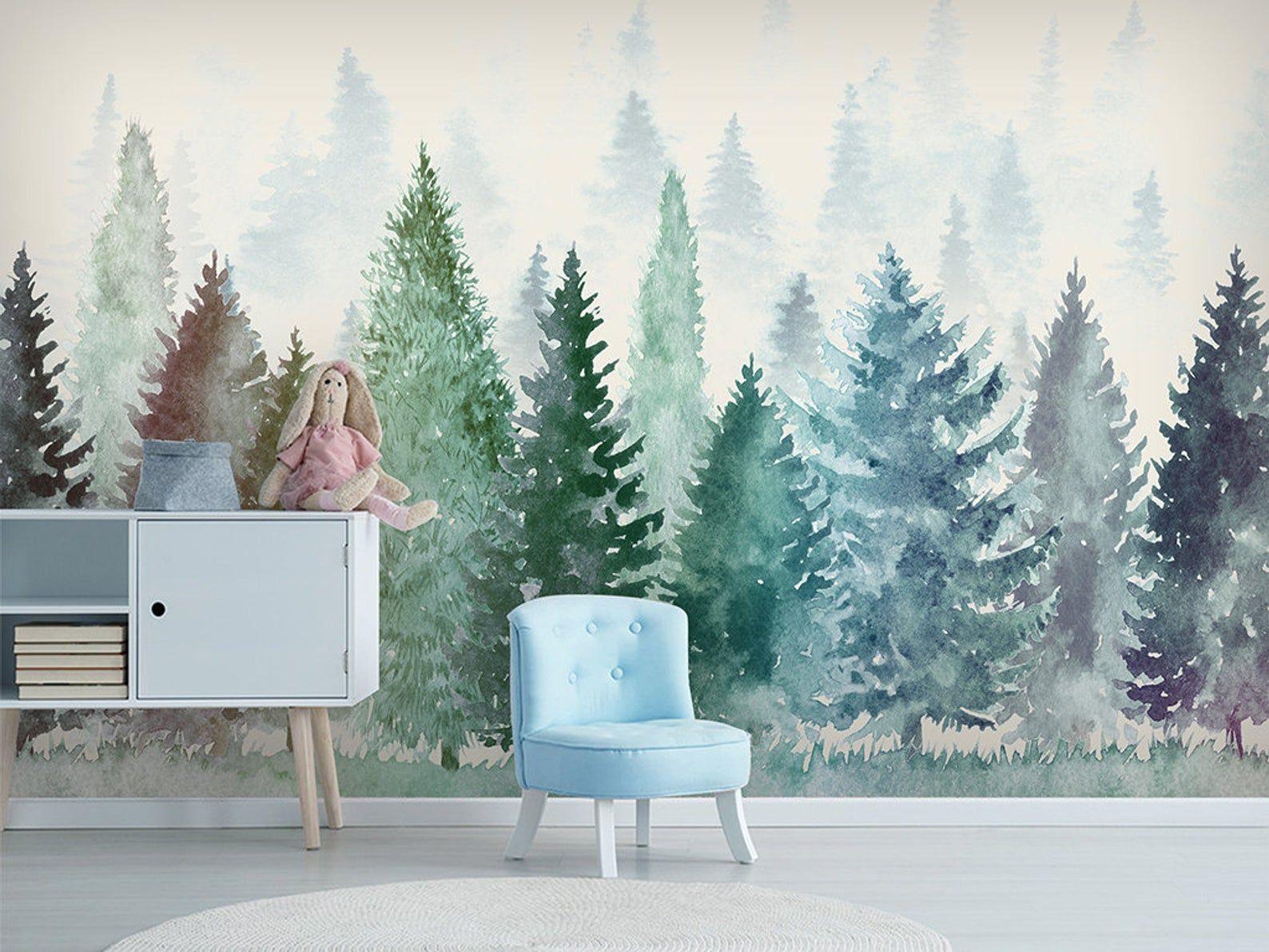 Watercolor Pine Trees Wallpaper Wall Mural Abstract Pine Etsy Forest Wall Mural Tree Wallpaper Wall Murals