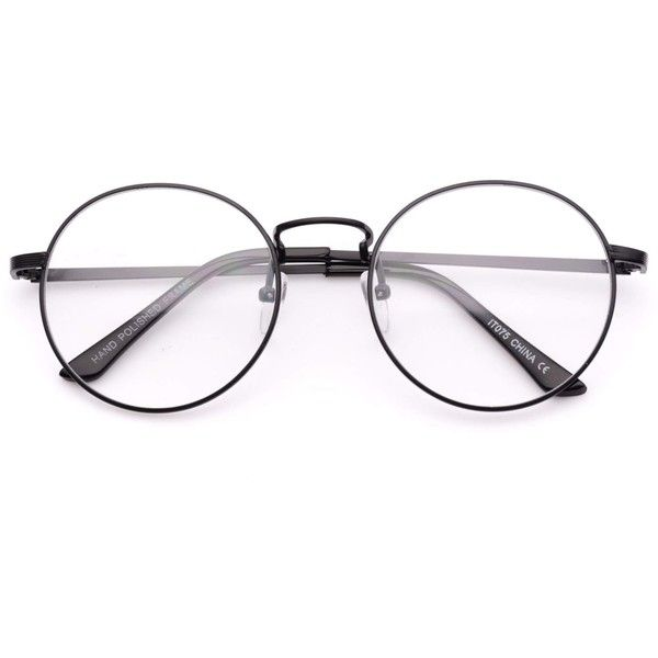 Blaine round metal clear lens circle glasses (120 BRL) ❤ liked on ...