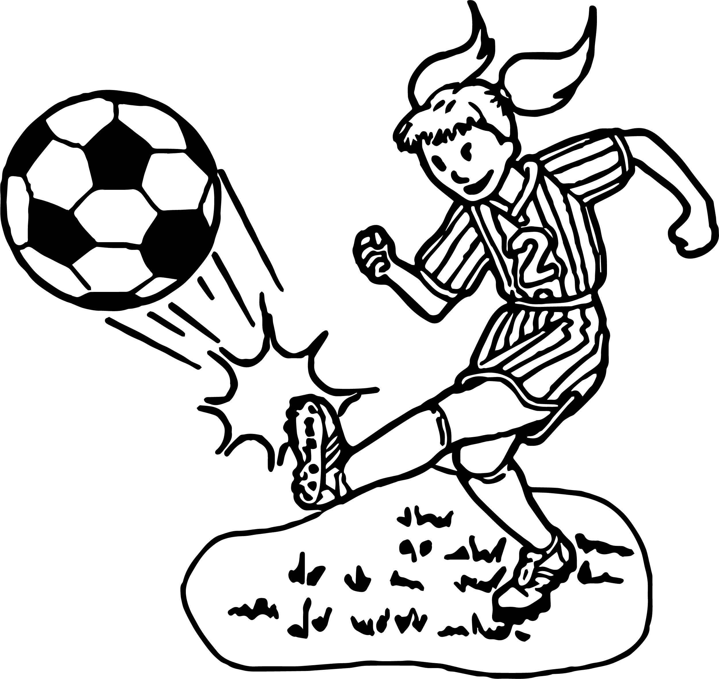 Cool Kid Girl Playing Soccer Playing Football Coloring Page