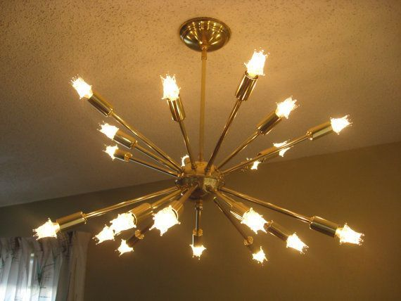 Mid Century Light Fixtures 50s   Mid Century Atomic Brass SPUTNIK 20 arm Ceiling Starburst Light 50s ...