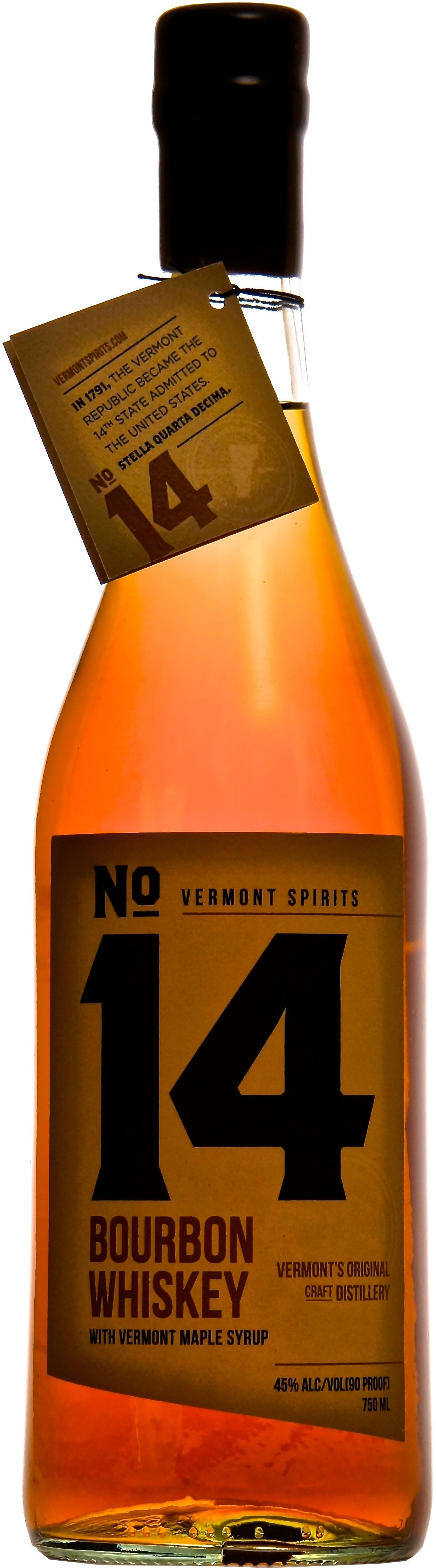 Vermont Spirits No. 14 Bourbon. Aged for a minimum of five years, this #bourbon #whiskey is blended together with maple syrup handcrafted in Vermont. | @Caskers