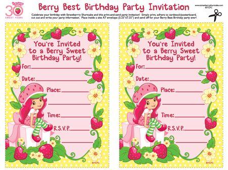 Printable Strawberry shortcake birthday party invitations