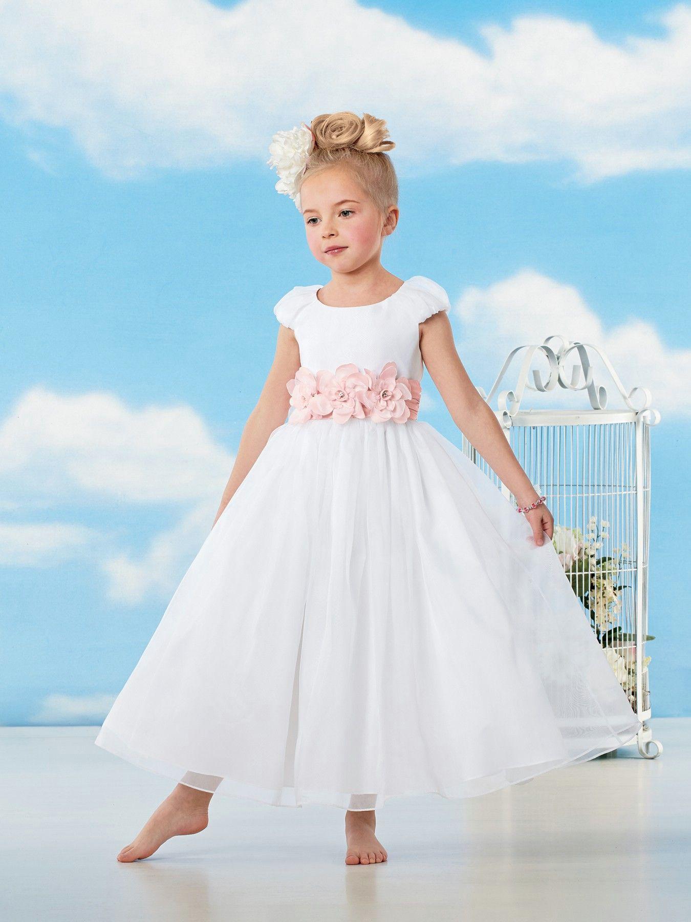 Pink Flower O Neck Ankle Length A Line White Flower Girl Dress ...