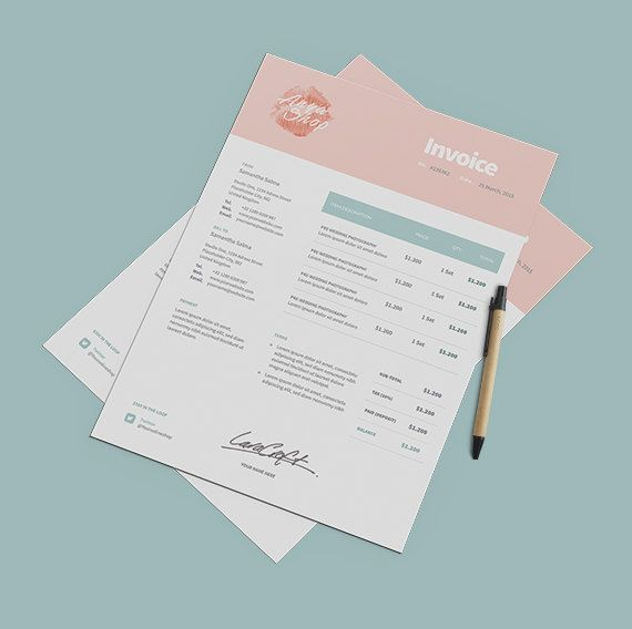 Professional Invoice Template Instant Download  Receipt Template