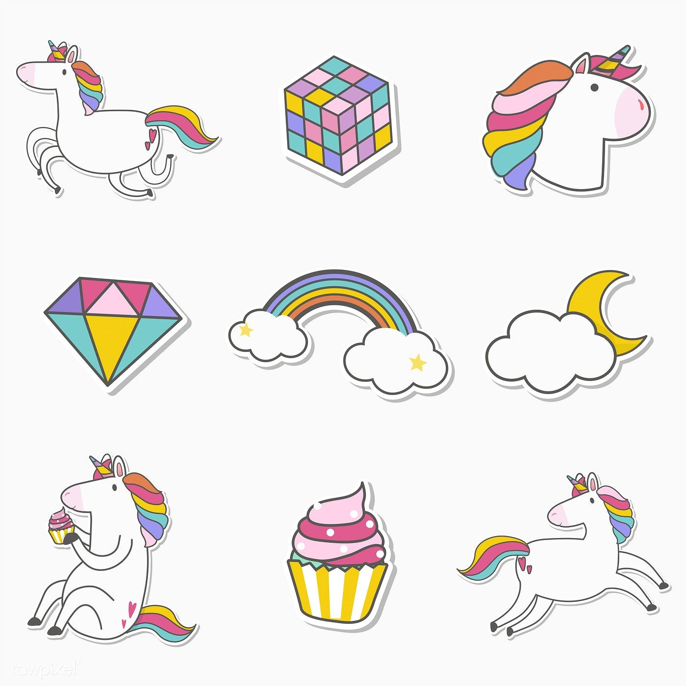 Set Of Unicorn Stickers Vector Free Image By Rawpixel Com