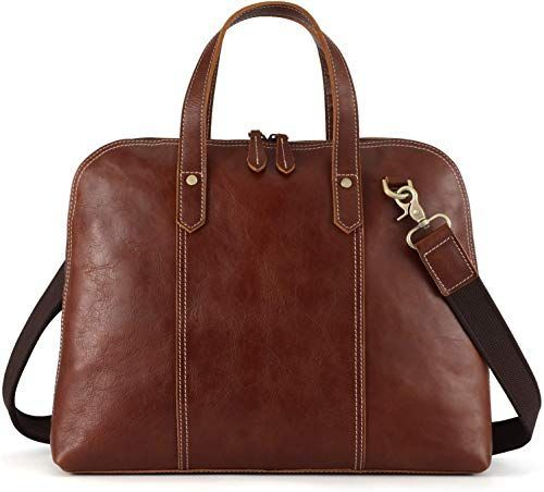 New Kattee Unisex Genuine Leather Tote ShellShape 14 Laptop Briefcase Handbag Brown online shopping  Chicideasbriefcase