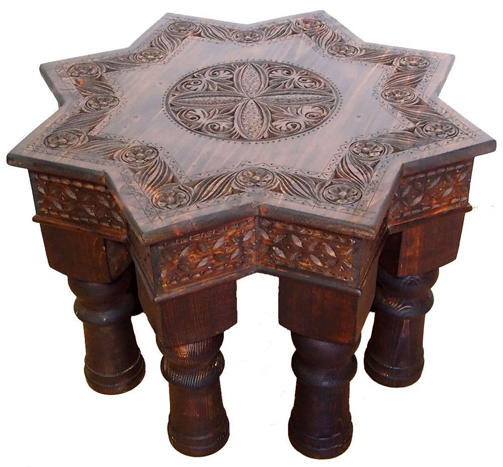 70x70 Cm Antik Look Orient Teetisch Tisch Couchtisch Beisteltisch Afghan  Stern