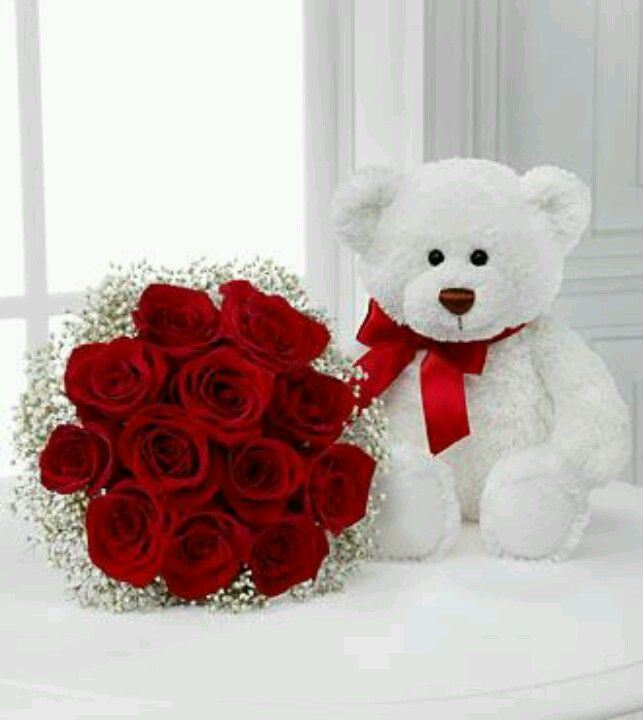 Red Roses and Teddy Bear ! | ~ Flowers ~ | Pinterest | Red roses ...