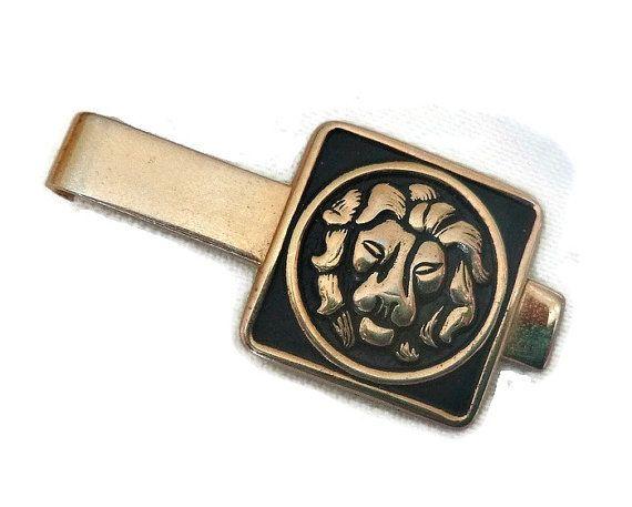 50's Swank Lion Tie Clip Vintage Leo Tie Clip Lion Tie Bar Mens Gold & Black Lion Head Tie Clip 60's Leo Tie Clip Clasp Figural Cat Tie Bar