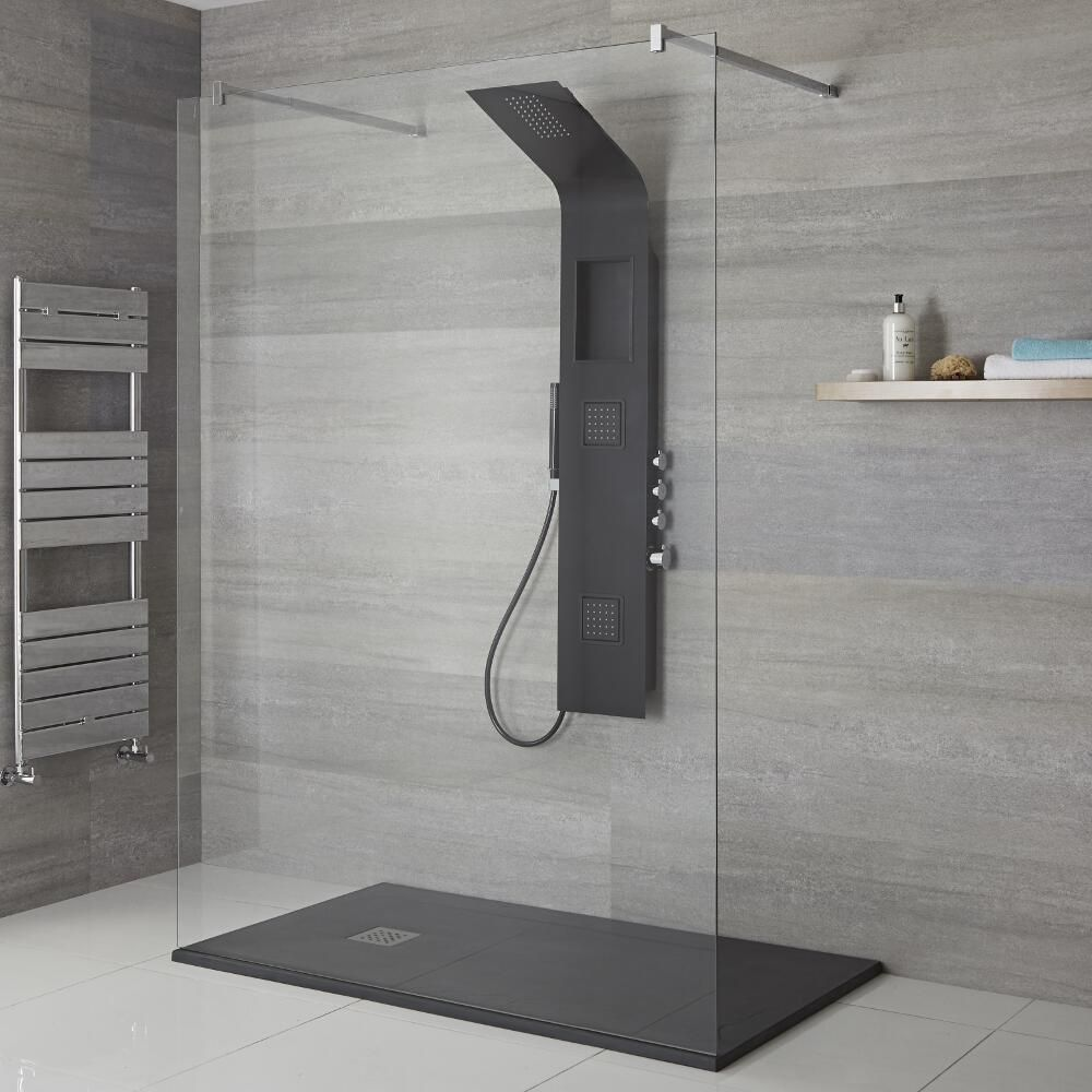 Milano Orton Modern Exposed Shower Tower Panel With Shelf Large