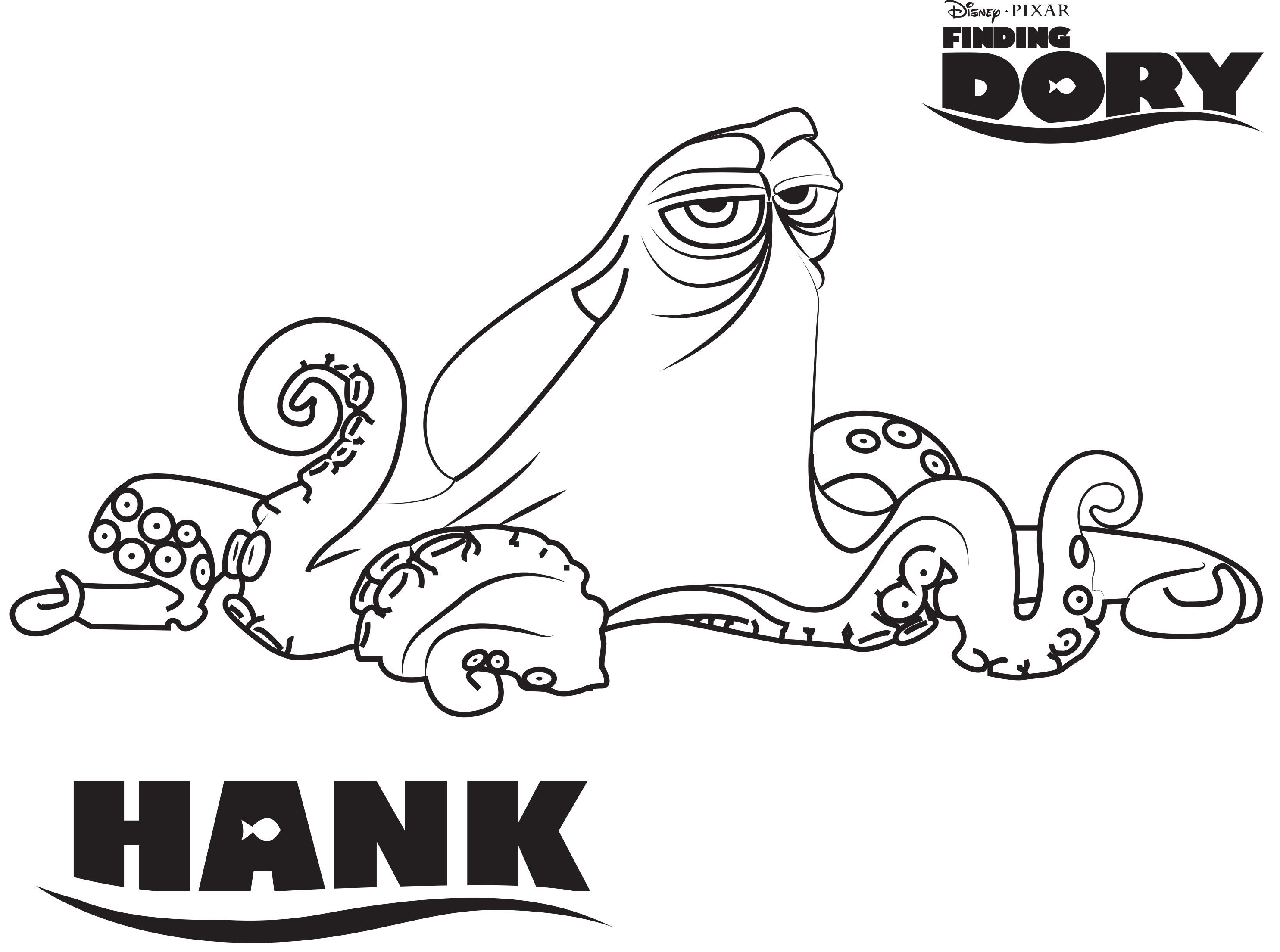 Disney's Finding Dory Hank Coloring Page | Finding Dory ...