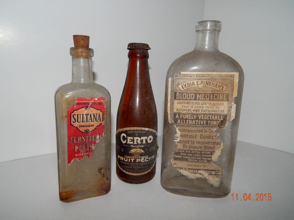 Antique Lyndia E Pinkham's Blood Medicine, Sultan Furniture Polish, Certo Amber