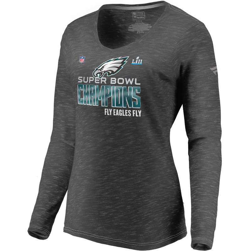 Women s NFL Pro Line by Fanatics Branded Heathered Charcoal Philadelphia  Eagles Super Bowl LII Champions Trophy Collection Locker Room Long Sleeve  V-Neck T- ... 5876d0245
