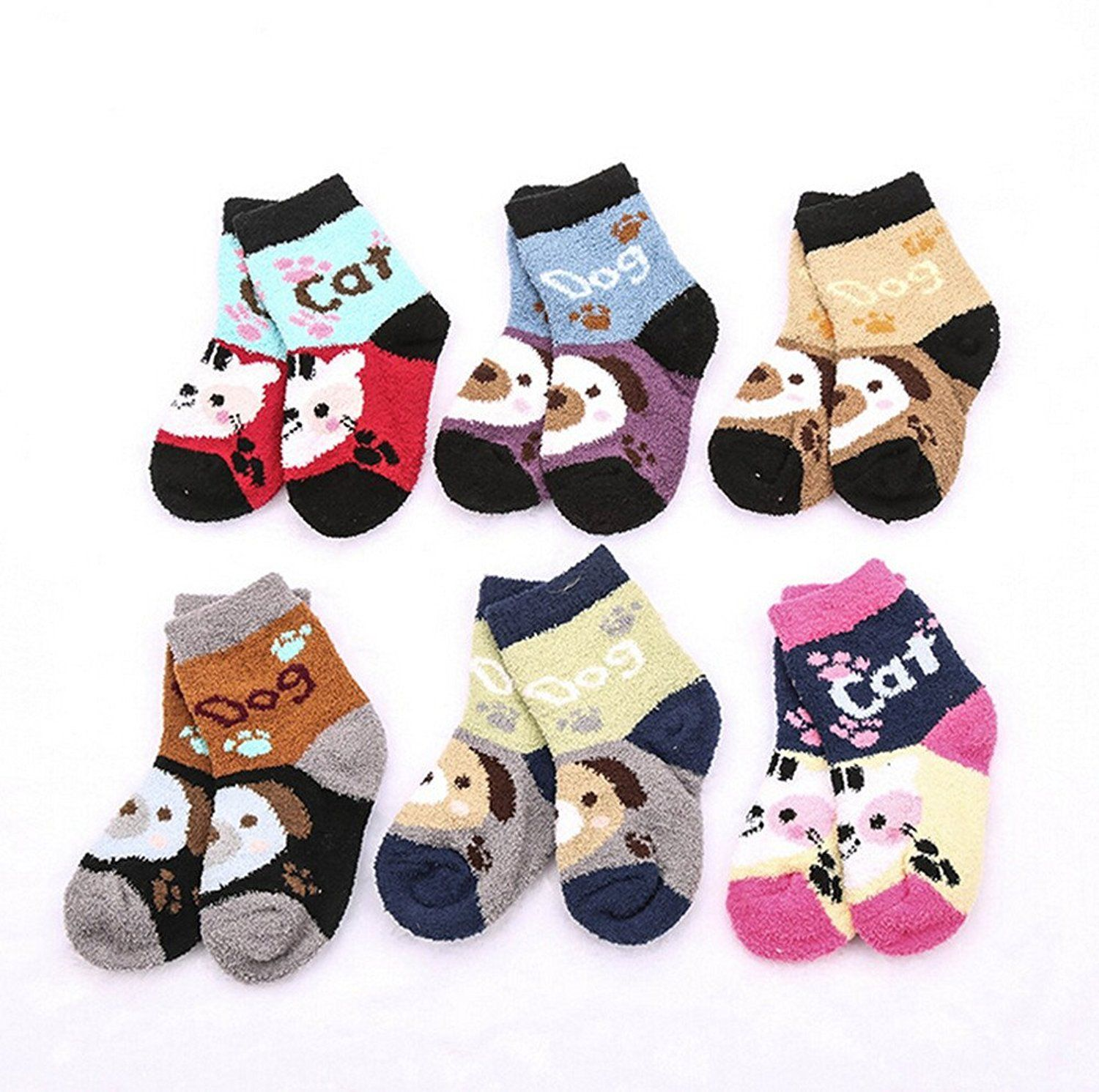 BT-RSTT Super Warm Baby Fuzzy Soft Thick Socks Animal 6 pairs 1-3 Year old. Fits up to 1-3 Years Old. Material - Coral fleece. Includes 6 pairs of unique assorted colors. Keep your little one's feet warm and comfortable in autumn and winter. Sole Length: 4.5 inches (12 cm).