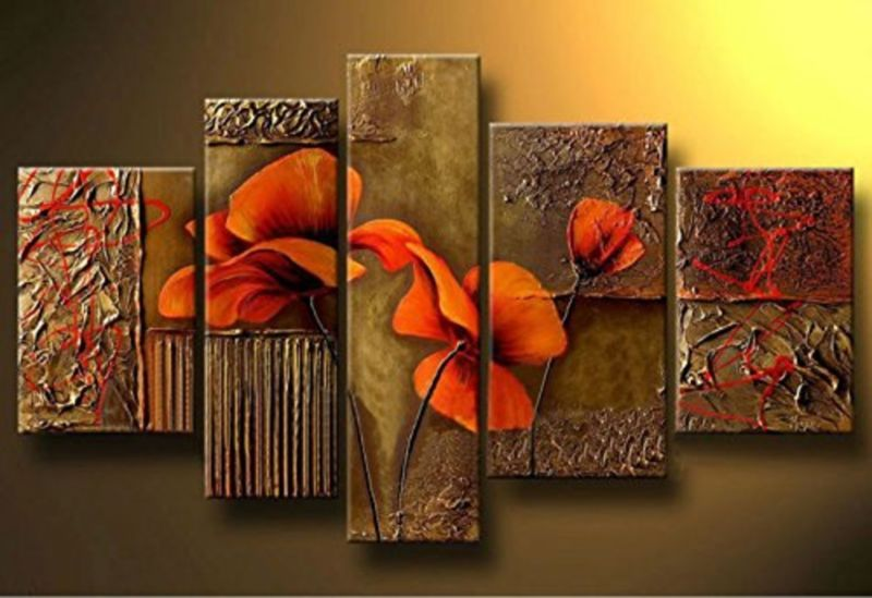 Cherish Art 100% Hand Painted Oil Paintings Gift Red Flowers 5 Panels Wood In...