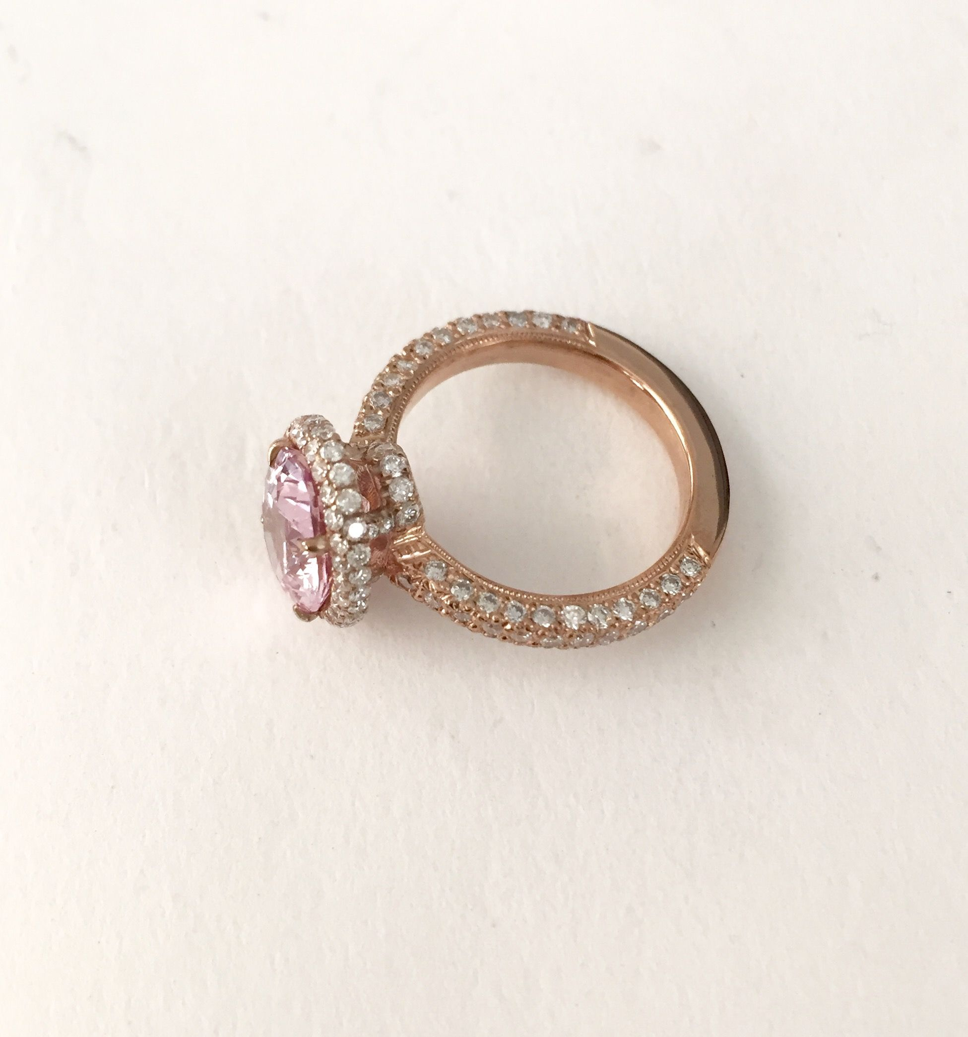 diamond peach gold sapphire sadie ring rose halo ct myshoplah