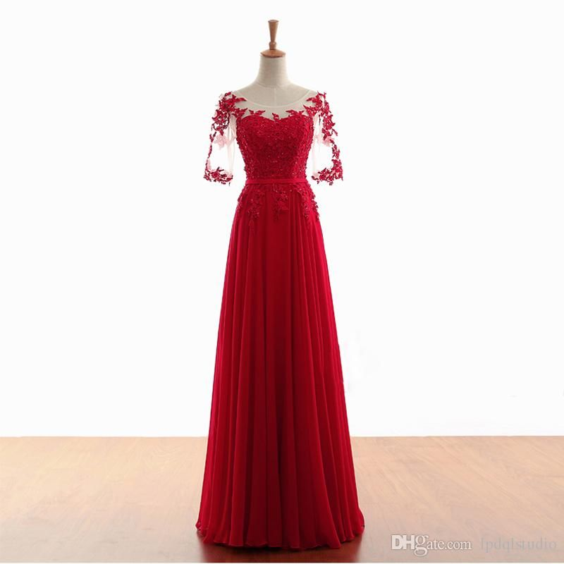 8a58237668d Elegant Chiffon Evening Dresses Sheer with Applique Shining Sequins Beads Long  Prom Dress Lace-up