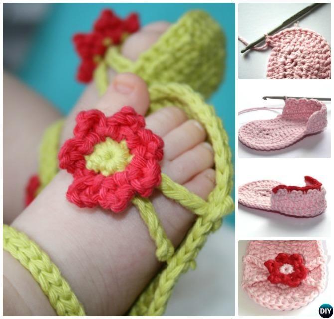 Crochet Flower Baby Sandals Free Pattern #Shoes   crochet ...