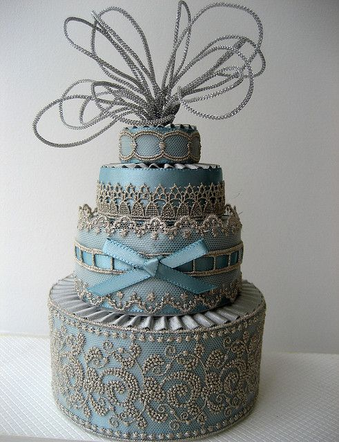 Textured blue cake. Beautiful. Not sure about the antenna on the top though.
