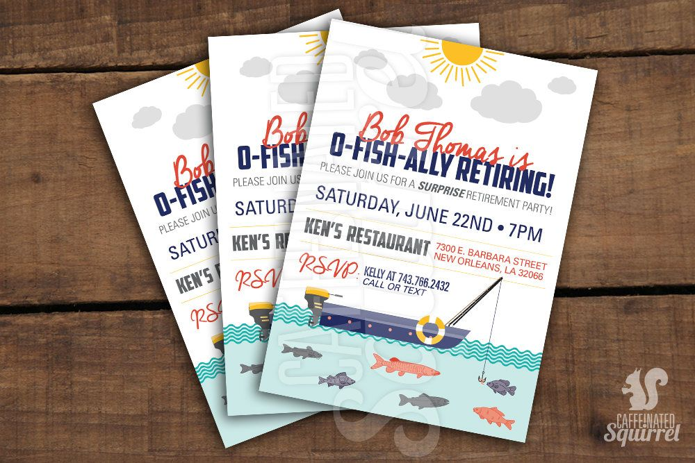 OFishAlly Retiring Fishing Themed Invitations Retirement