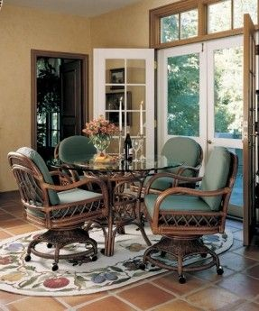 Caster Swivel And Tilt Rattan Chairs
