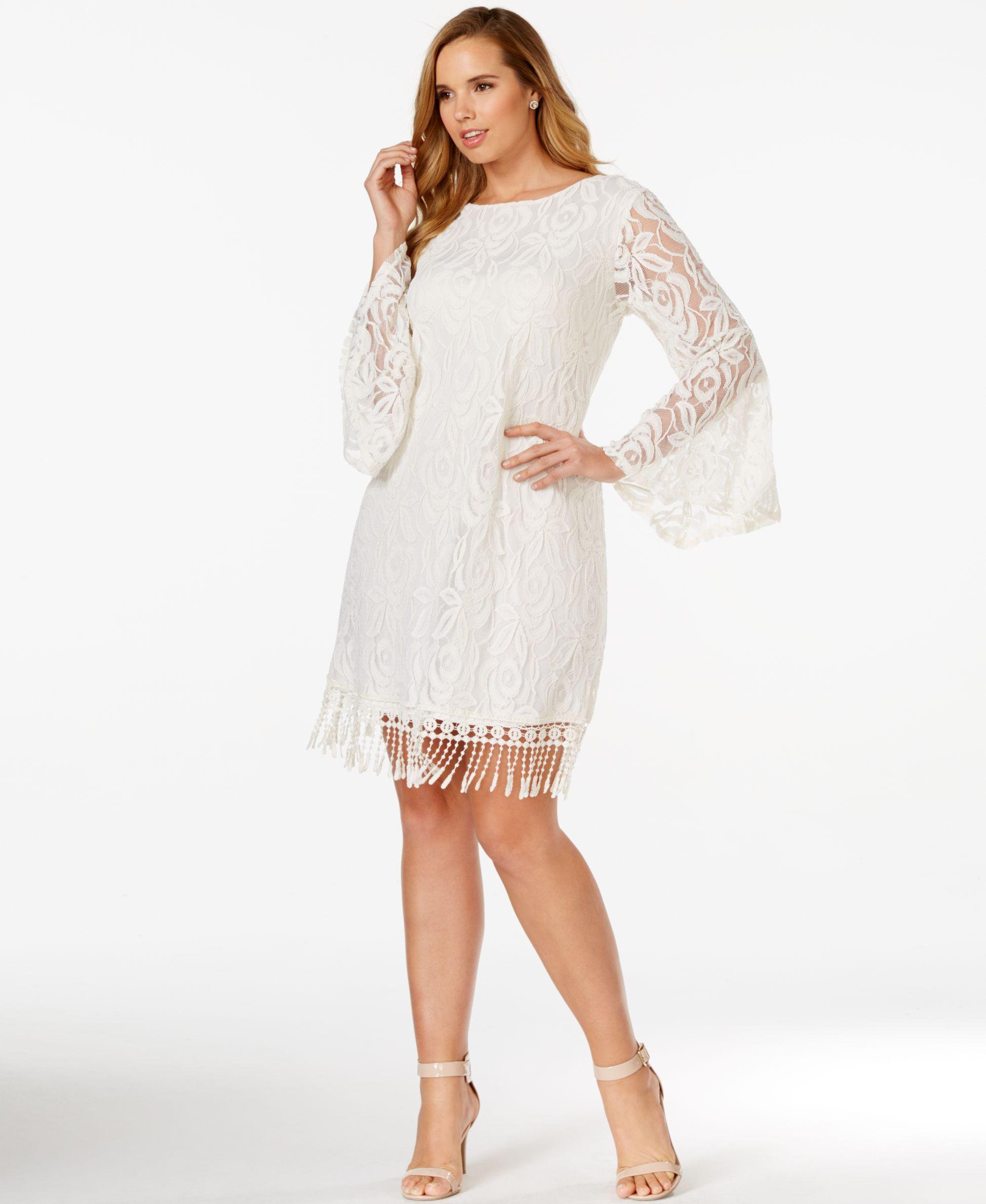 Ing plus size lace fringetrim dress fringe trim feminine and