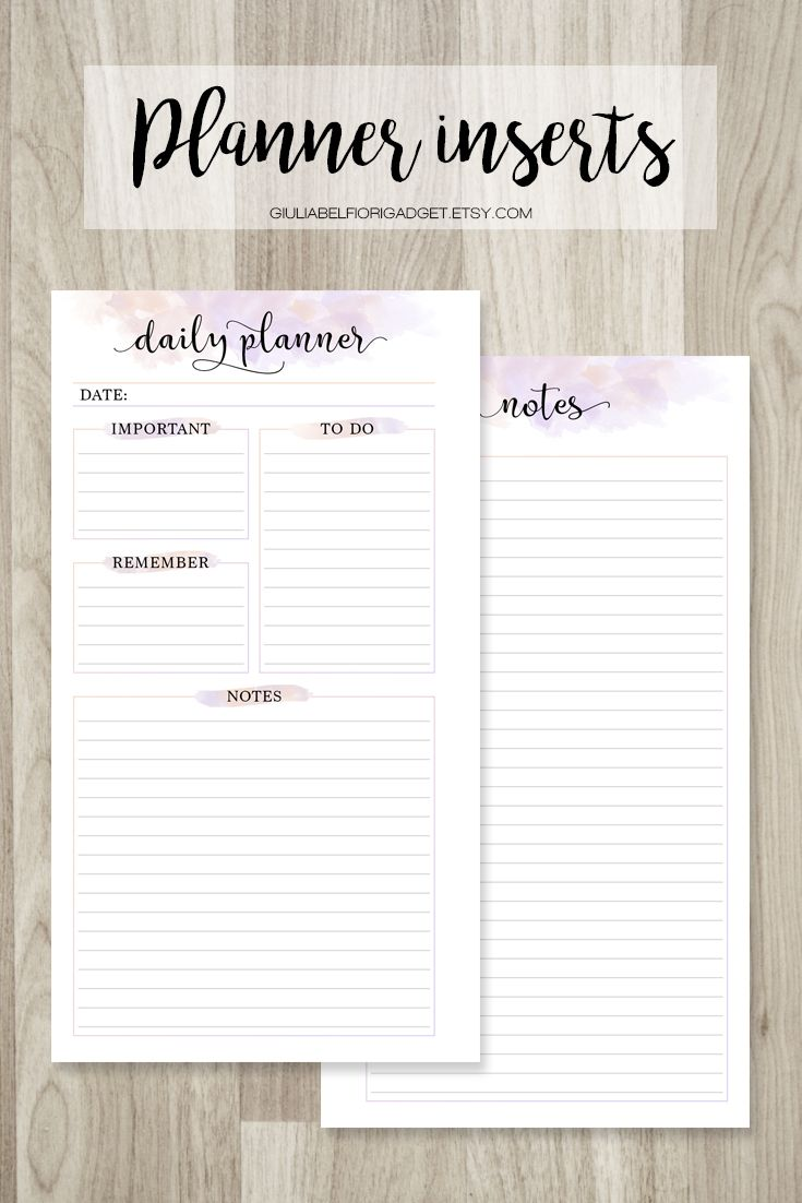 Watercolor daily planner and notes! Perfect for writing your daily activities and to do lists! #dailyplanner #notes #plannerrefill