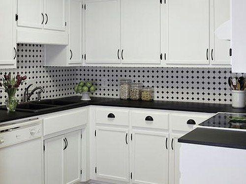 Black White Mosaic Backsplash With White Cabinets Black And White Backsplash White Tile Kitchen Backsplash White Kitchen Tiles