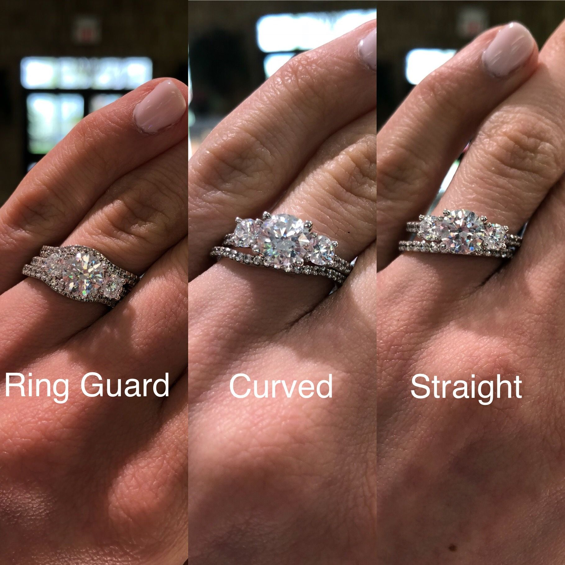 What Type Of Wedding Band Would You Wear With A 3 Stone Engagement Ring So Many Options Three Stone Engagement Rings Buy Wedding Rings Wedding Ring Bands