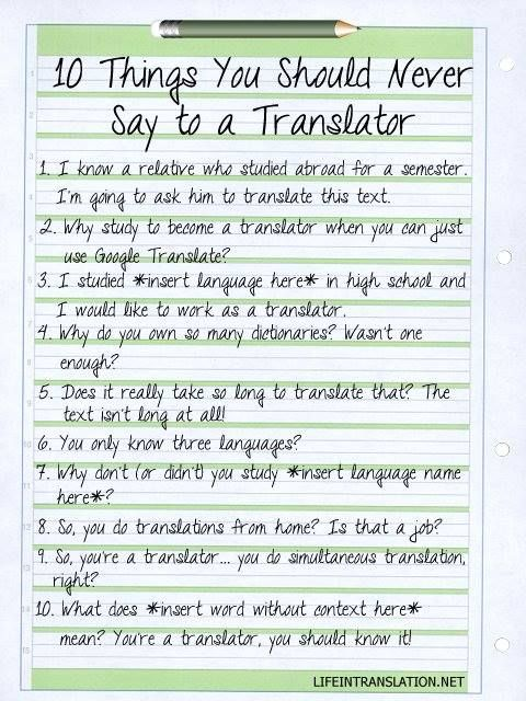 Things you should never say to a translator