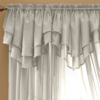 Jcp Home Snow Voile Rod Pocket Layered Ascot Valance Jcpenney Bathroom Wall Decor Diy Valance Window Valance