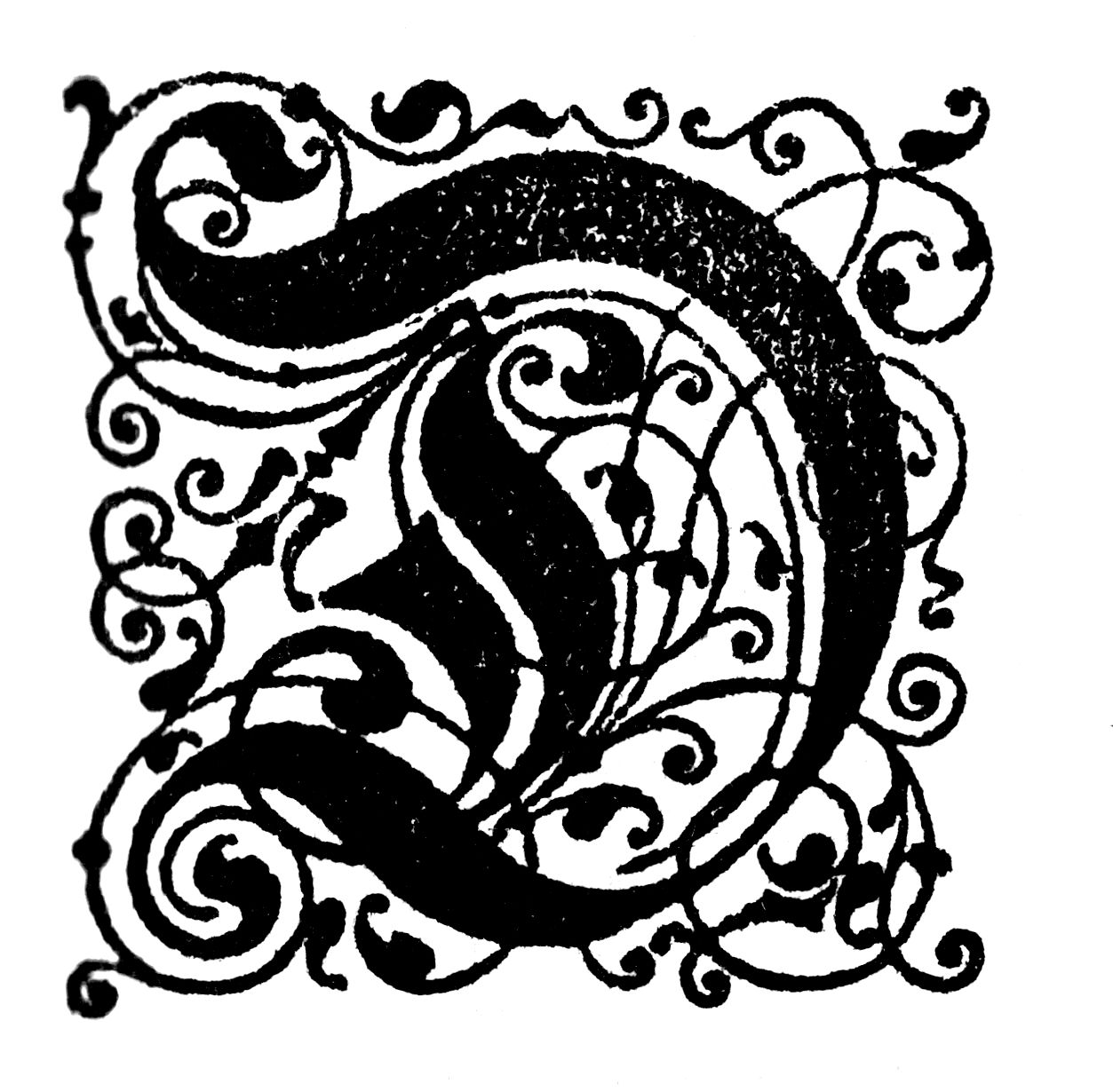 Free Vintage Initial Capital Letter 'D' Calligraphy