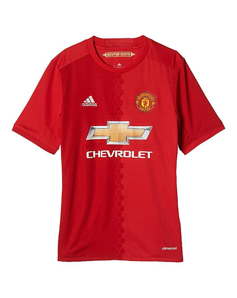 499edaddd1b65 Manchester United Youth Boys Club Home J Boys Ventilated Football Jersey,  modelled after the Manchester