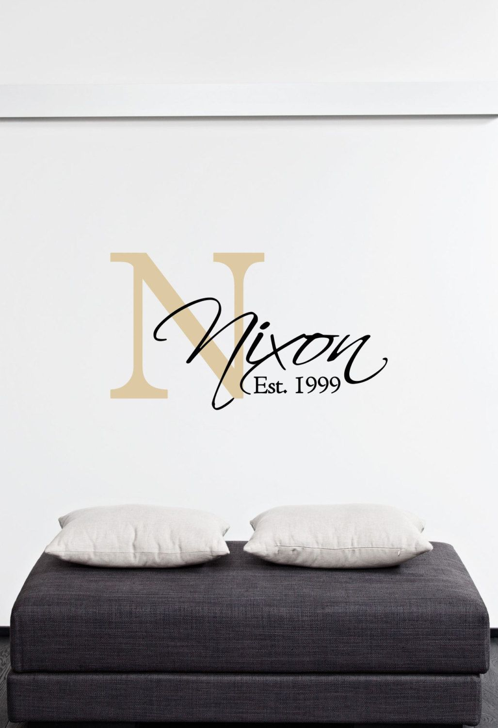 Custom family last name  monogram vinyl wall art decal also rh pinterest
