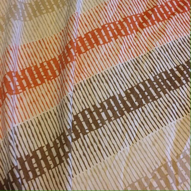 vintage full fitted bed sheet mod orange brown geometric retro 70s fabric groovy unknown
