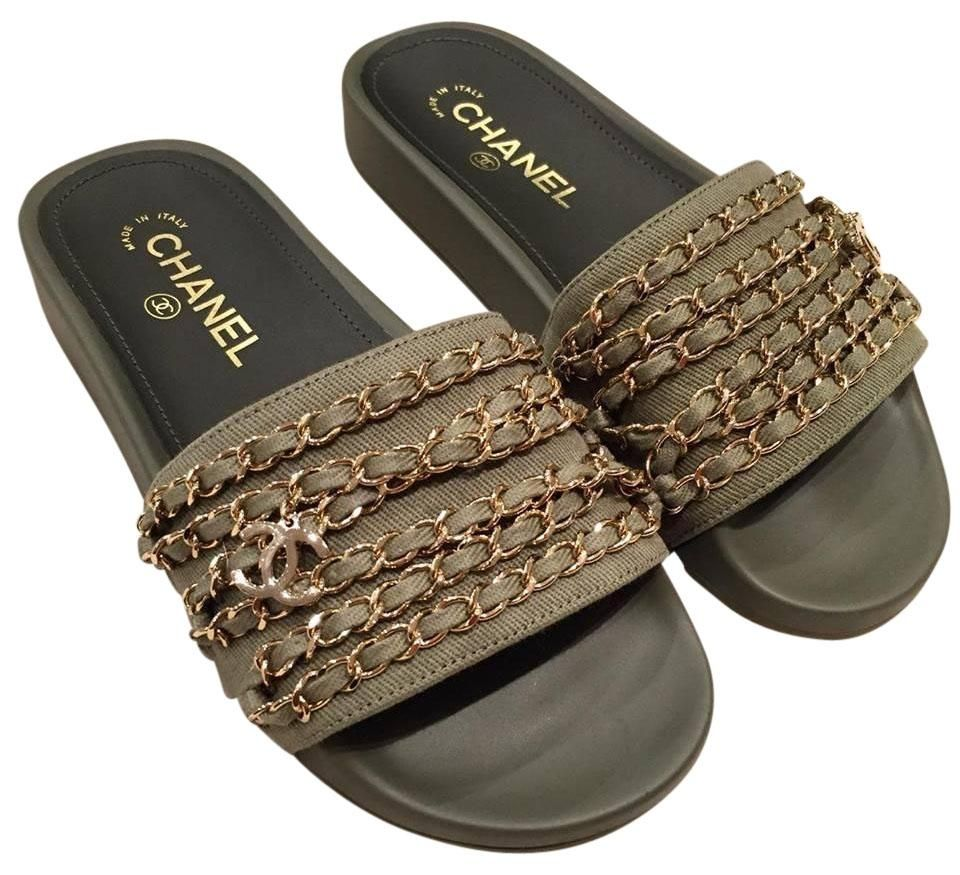 cdadb7c118e4 Chanel 17c Khaki Gold Chain Iconic Class Cc Mule Slide Flat 36 Green  Sandals. Get the must-have sandals of this season! These Chanel 17c Khaki  Gold Chain ...