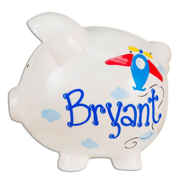 Hand Painted Personalized Airplane Piggy Bank for by MyBambino