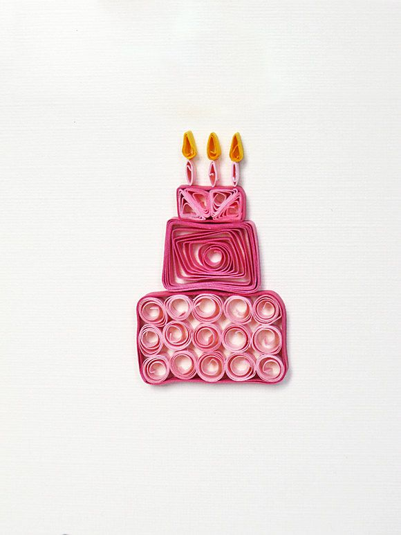 Quilling Greeting Card Pink Birthday Cake 7 00 Via
