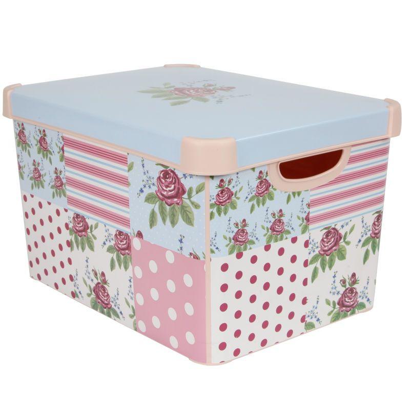 Decorative Plastic Storage Boxes With Lids Curver Patchwork Floral Storage Box  Diy  Pinterest  Storage