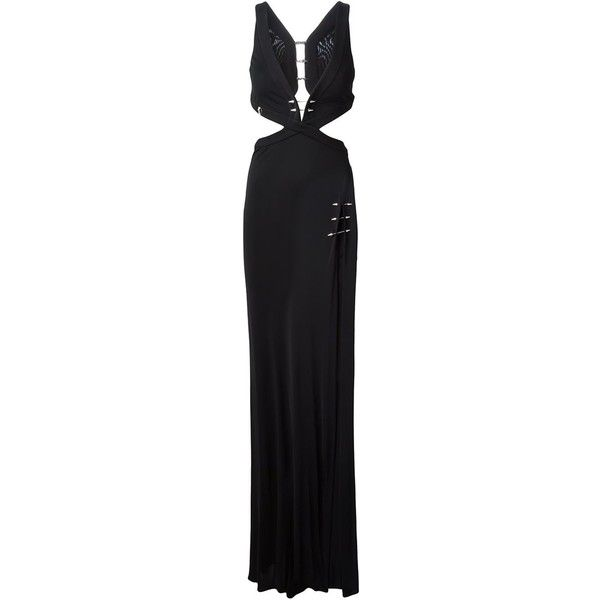 Philipp Plein Palace Evening Dress ($2,031) ❤ liked on Polyvore featuring dresses, black, cut out dress, cutout dress, sleeveless dress, sleeveless cocktail dress and spiked dress